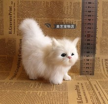 cute white simulation cat doll lifelike small cat model gift 12x6x12cm