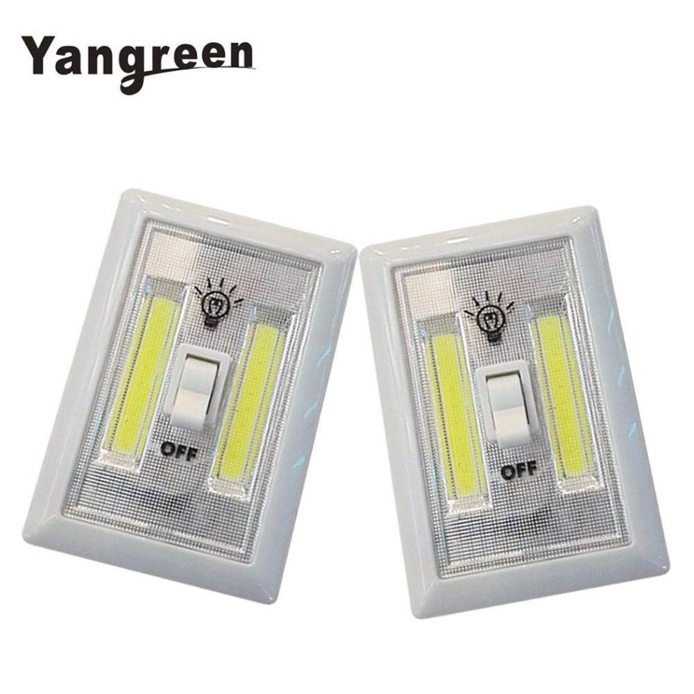 Yangreen Magnetic COB LED Switch Wall Night Lights Cordless Lamp Battery Operated Cabinet Garage Closet Camping Emergency Light