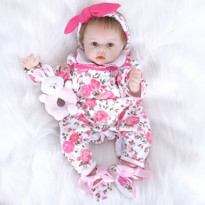 22 Inch Lifelike New Born Baby Dolls Silicone Bebe Reborn Rooted Mohair Soft Vinyl Reborn Babies Doll SB5565 Girl Toys Brinquedo 18 inch babies reborn brinquedo menina 45cm full vinyl body rooted curly mohair blue eyes boy body silicone reborn baby dolls