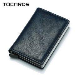 RFID Brand Leather Credit Card Holder Male Automatic Aluminum Alloy Hasp Business Multifunction ID Cardholder Wallet for Men
