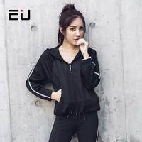 EU Women Sport Fitness Clothing Women Running Jacket Breathable Reflective Quick Dry Black Workout Sport Yoga