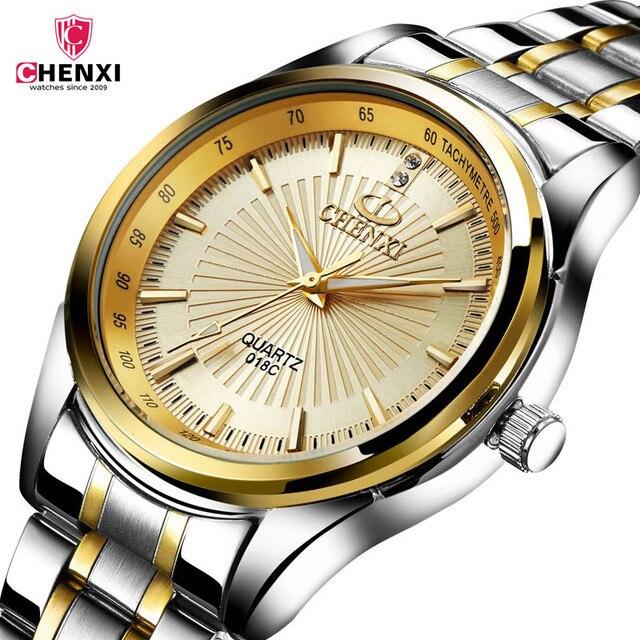 2d9d8251d70 CHENXI Relógios homens de Aço Inoxidável De Ouro De Quartzo Presente Relógio  de Pulso para o