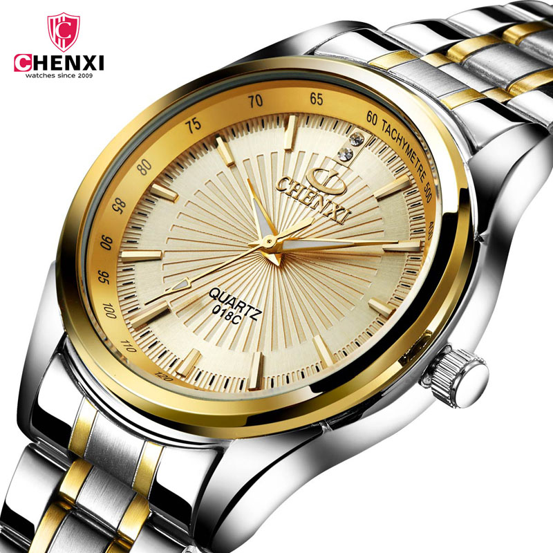 CHENXI Watches men Stainless Steel Quartz Golden men's Wristwatches for Man Top Brand Luxury Gift Clock Relogio Masculino 3334 orkina golden watches for men top luxury brand mens quartz wristwatches stainless steel band working sub dials 6 hands watches