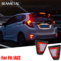 For Honda Fit Jazz GK5 2014 2015 2016 Car LED Rear Bumper Lights Reflector Protector Exterior Decoration Auto Accessories