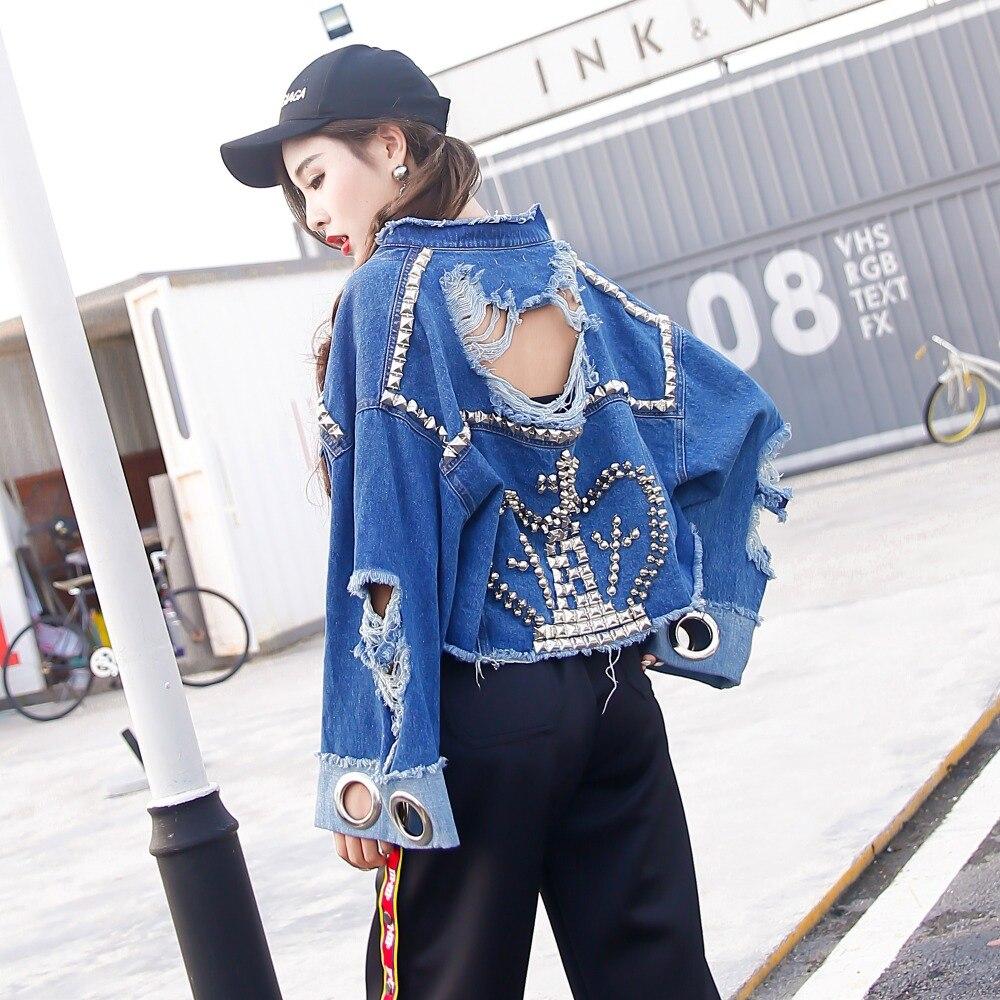 TREND-Setter 2017 Autumn Ripped Denim Short Jacket For Women Punk Style Rivet Queen Spring <font><b>Jean</b></font> Jacket And Coat Loose Streetwear