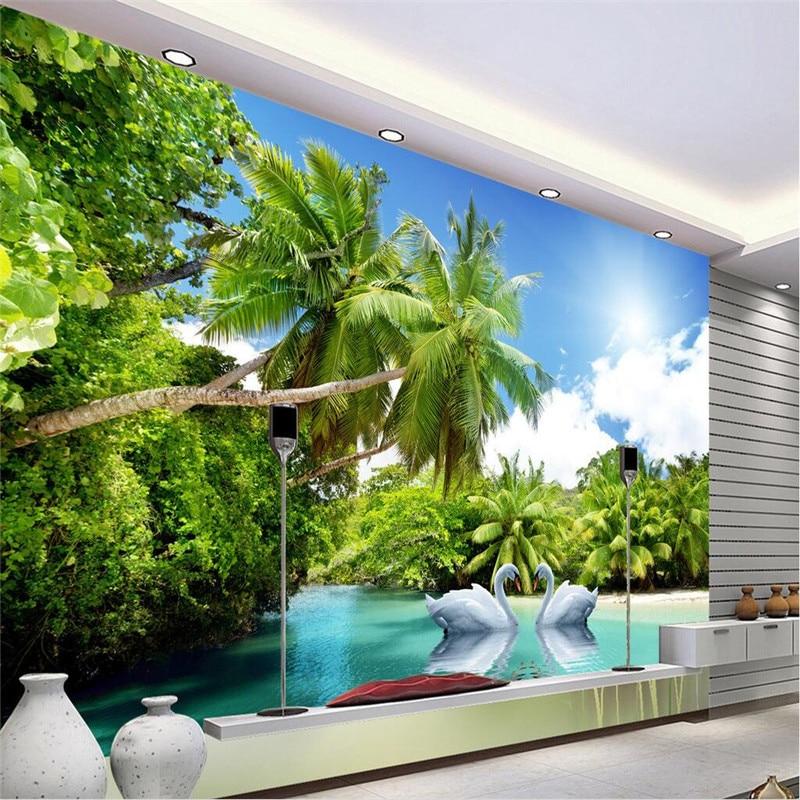 Custom photo wall mural wallpaper 3d luxury quality hd for Beach wall mural cheap