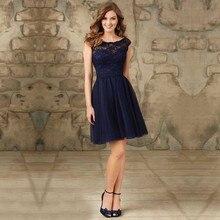 Royal Blue Lace Elegant Fashion vestido de dama de honra Scoop Appliques Short A-Line Tulle Bridesmaid Dresses 2016