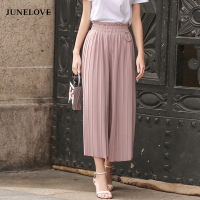 JuneLove 2017 Casual Pants Women Spring Summer Linen Pleated Stretchy Waist Pants Autumn High Waist Wide
