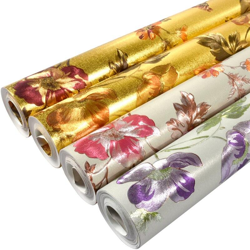Papier peint européen en métal doré papier peint 3d en relief salon Tv fond papier peint rouleau argent or papier peint décor à la maison