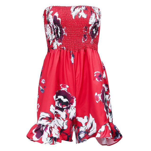 c7ee0db5af19 Summer Ladies Fashion Floral Strapless Jumpsuit Sexy Halter Sleeveless  Jumper Shorts Jumpsuit