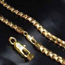 Men Gold Necklace With 18KStamp New Trendy Pure Gold Color 8MM Wide Unique Snake Chain Necklaces Men Jewelry NX191