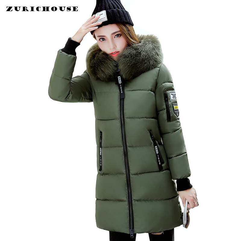 Mid-long Winter Jacket Women Plus Size 3XL Fur Collar Hooded Outwear Female   Parka   2019 Fashion Brand Womens Cotton Padded Jacket