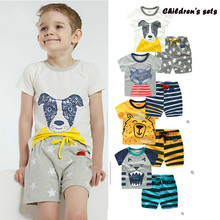 Clothing girl summer boy toddler tiger bear cartoon fox dog  t-shit Cotton pant Girls Clothes 234567 years old children's sets girls summer clothing sets girl set cotton brand cartoon embroidered t shirt short pant toddler girl clothing for kids clothes