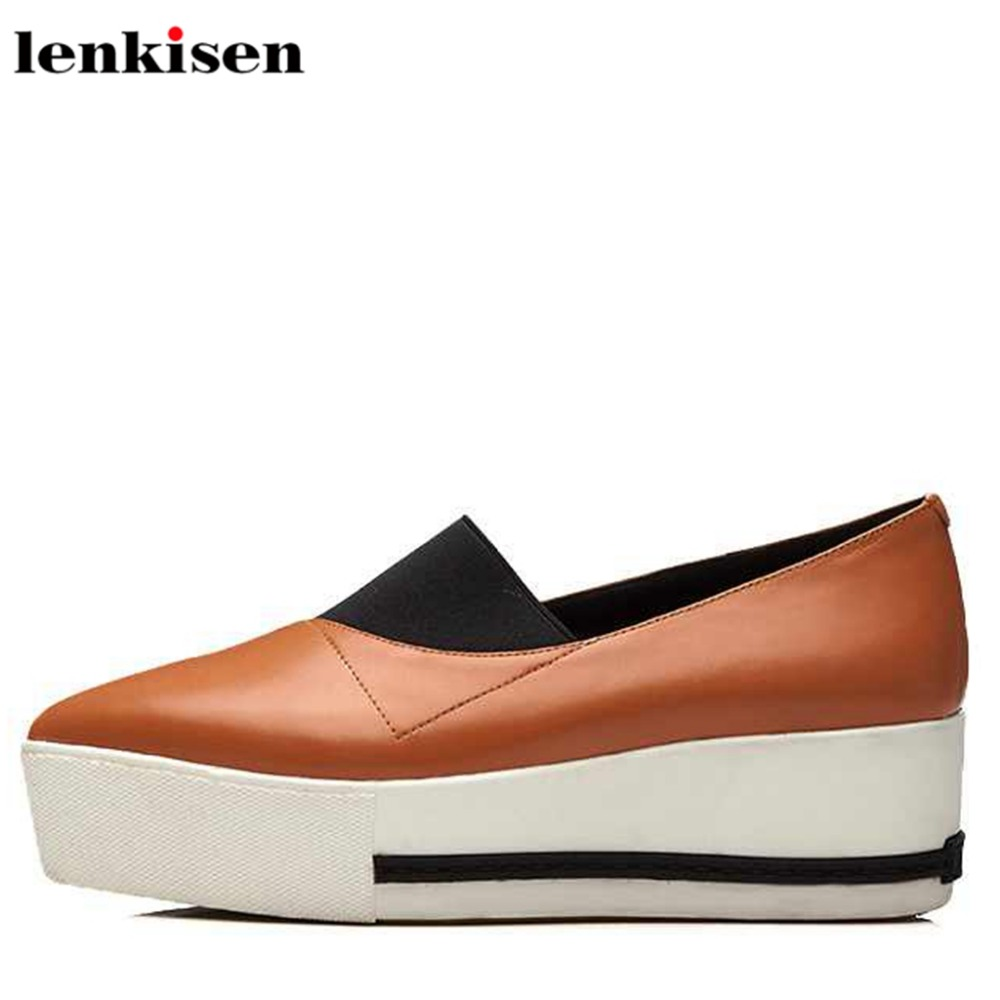 Lenkisen concise slip on sheep leather platform pointed toe increased party causal lazy shoes wedge med heels women pumps L27 nayiduyun women genuine leather wedge high heel pumps platform creepers round toe slip on casual shoes boots wedge sneakers