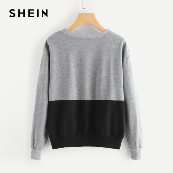 SHEIN Multicolor Contrast Cut and Sew Sequin Sweatshirt Casual Colorblock Long Sleeve Pullovers Women Autumn Sweatshirts 1