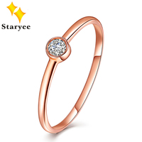 STARYEE Elegant Style Pure 18k Solid Rose Gold 0.1 Carat SI H Natural Diamond Engagement Rings for Women Wedding Party Gift