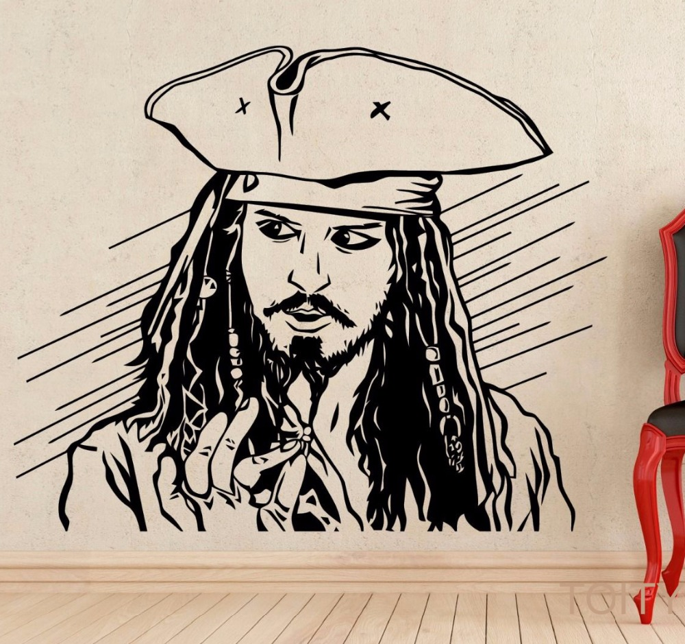 Captain jack sparrow wall decal pirate movie vinyl sticker poster captain jack sparrow wall decal pirate movie vinyl sticker poster art nursery children room mural home interior decor in wall stickers from home garden on amipublicfo Gallery