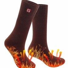 Зимние теплые носки с подогревом для мужчин и женщин, электрические теплые носки с аккумулятором, 3,7 вольт, теплые электрические носки для здоровья зимой