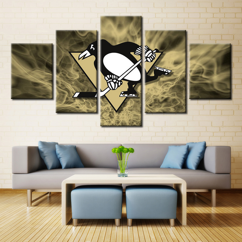 5 Panel Pittsburgh Penguins Wall Art Picture Modern Home Decoration Living Room Or Bedroom Canvas Print
