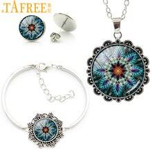 Купить с кэшбэком Wholesale retail tree of life jewellery mandala trees om yoga women glass cabochon necklace earrings bracelet jewelry set HT241
