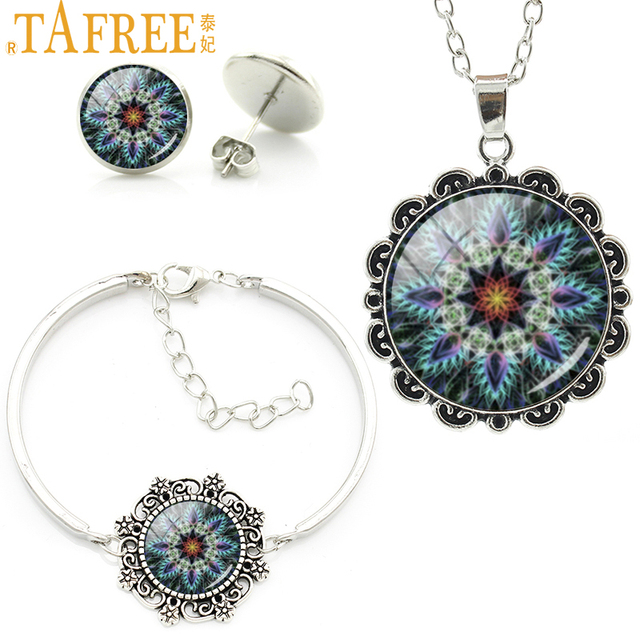TAFREE Mandala Flower Yoga Jewelry Sets Attractive Trendy Glass Cabochon Necklace Earrings Bracelet Wholesale Jewelry Sets HT231