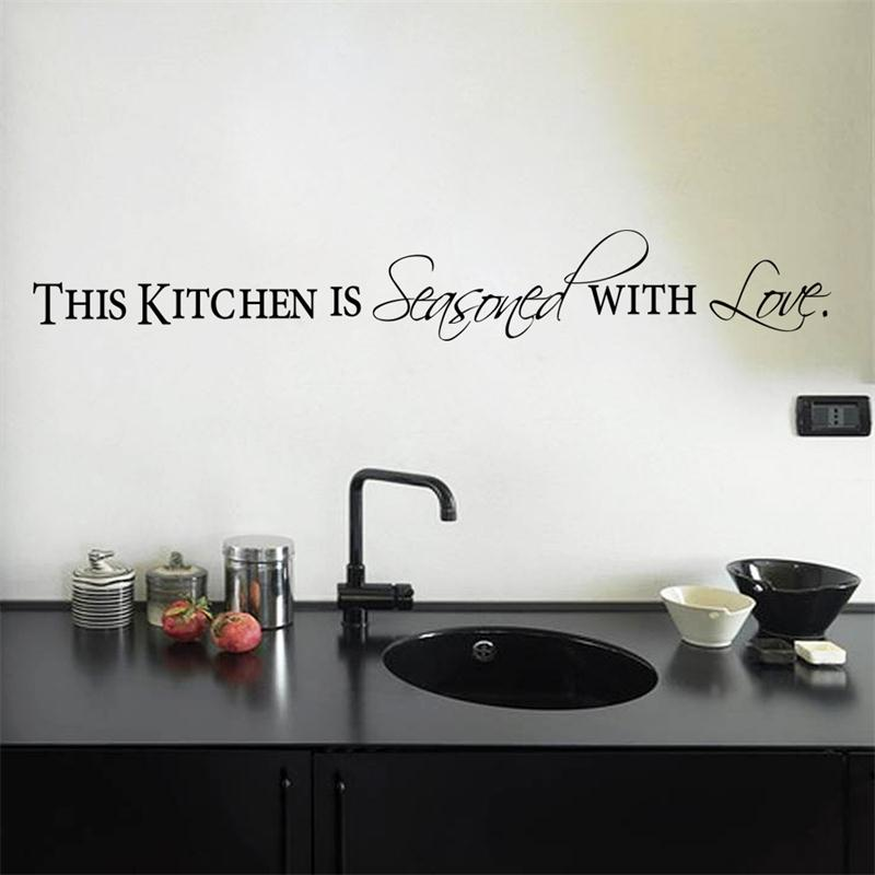 Hot Sale Kitchen With Love Home Decor Wall Stickers For Kitchen Wall Door  Black Quote Words Decorative Wall Decals Art Diy Mural In Wall Stickers  From Home ...