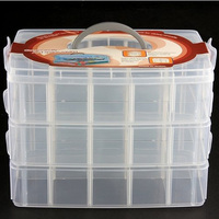 Handheld 3 Layer 30 Grids Detachable Plastic Makeup Cosmetic Jewelry Storage Case Box Holder Organizer Container