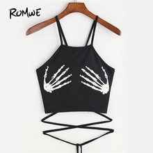 ROMWE Skeleton Hand Print Crop Top Camisole Women Black Lace Up Summer Cami Tops 2018 Fashion Casual Holiday Sexy Short Camisole