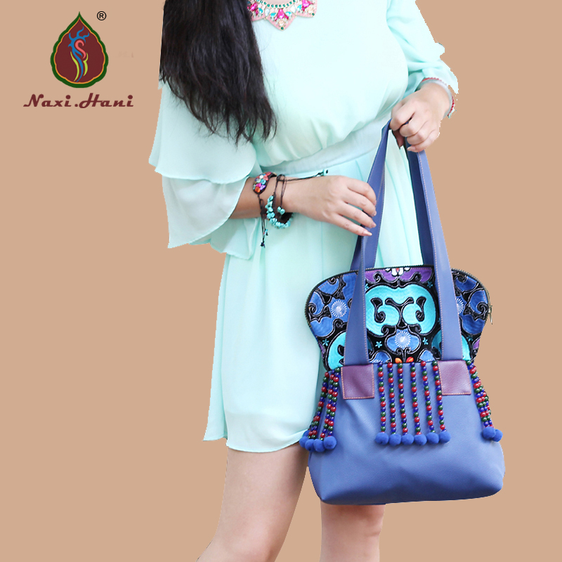 Newest Classic blue PU leather women handbags Vintage ethnic embroideried beaded shoulder bags inc new blue green women s size xs cold shoulder sleeve beaded blouse $59
