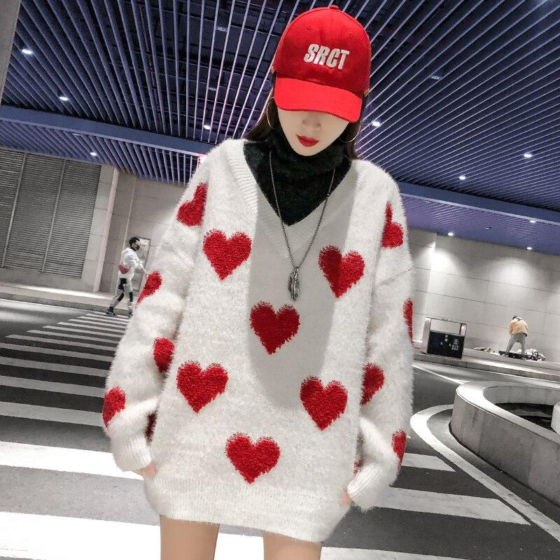 Haut Je Pour Pull Tricoté Rouge T'aime Manteau Col Robe Chandail Coeur Sexy Printemps Femme 2019 Vintage Colllar Roulé OTqxvT5zrw