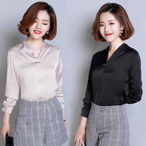 6487e84ebc TingYiLi Com Decote Em V Blusa De Cetim de Seda Camisa Coreano Elegante  Escritório Senhoras Tops de Manga Longa Blusa Mulheres Branco Preto  Vermelho Bege ...