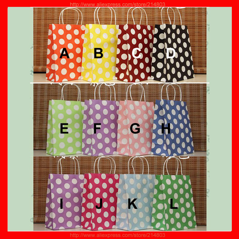 (100pcs/lot) size W21xH27xD11cm wholesale polka dot gift bags paper 100pcs lot 1n5820 do 27