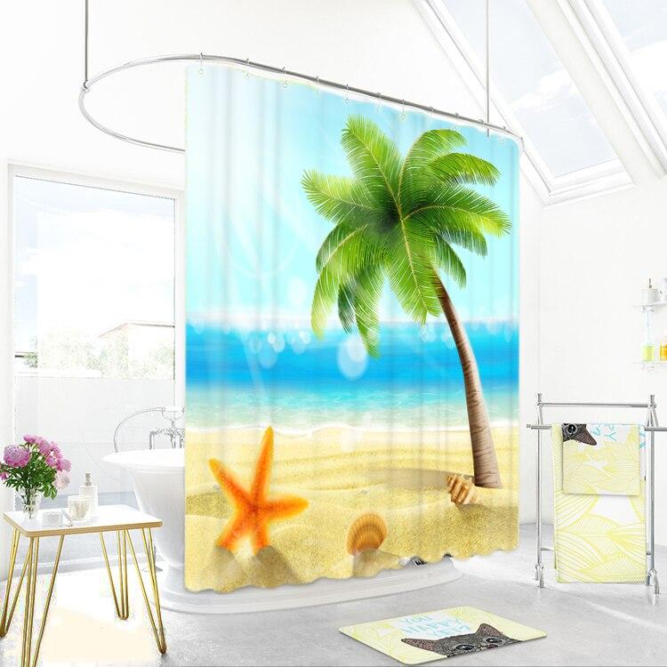 1800x1800mm Coconut Große Ozean Badezimmer Dusche Vorhang Wasserdicht Verdickung Mehltau Bad Vorhang Partition Vorhang Vorhang Reine WeißE