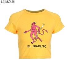 LEIMOLIS Fire Demon letter cotton yellow t shirt women summer harajuku kawaii crop top punk rock gothic sexy streetwear tops