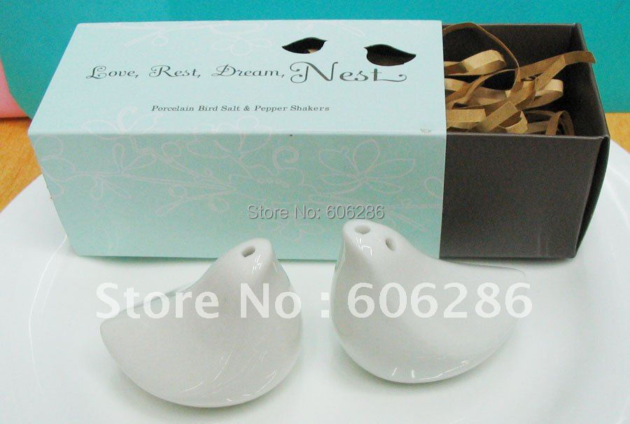 Wholesale 100pcs(50sets)Lot party favors items love birds ceramic salt and pepper shakers wedding favors and gifts