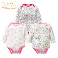 3Pieces Lot 100 Cotton Baby Bodysuit Spring Autumn Newborn Baby Clothing Long Sleeve Underwear Infant Baby