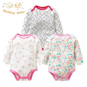 3 أجزاء/وحدة 100% القطن الطفل ارتداءها الربيع الخريف الوليد الطفل ملابس طويلة الأكمام الملابس الداخلية الرضع طفلة منامة الملابس