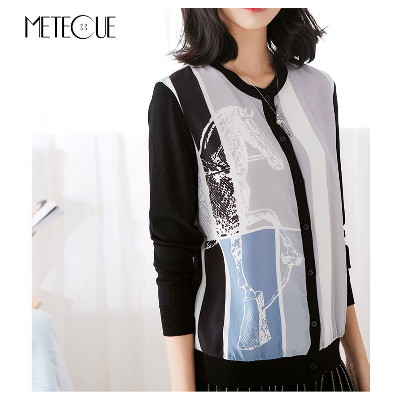 Silk Knitted Patchwork Cardigan Women 2018 Pre Fall Fashion Printed Single Breasted Button Long Sleeve Women Sweaters 2018