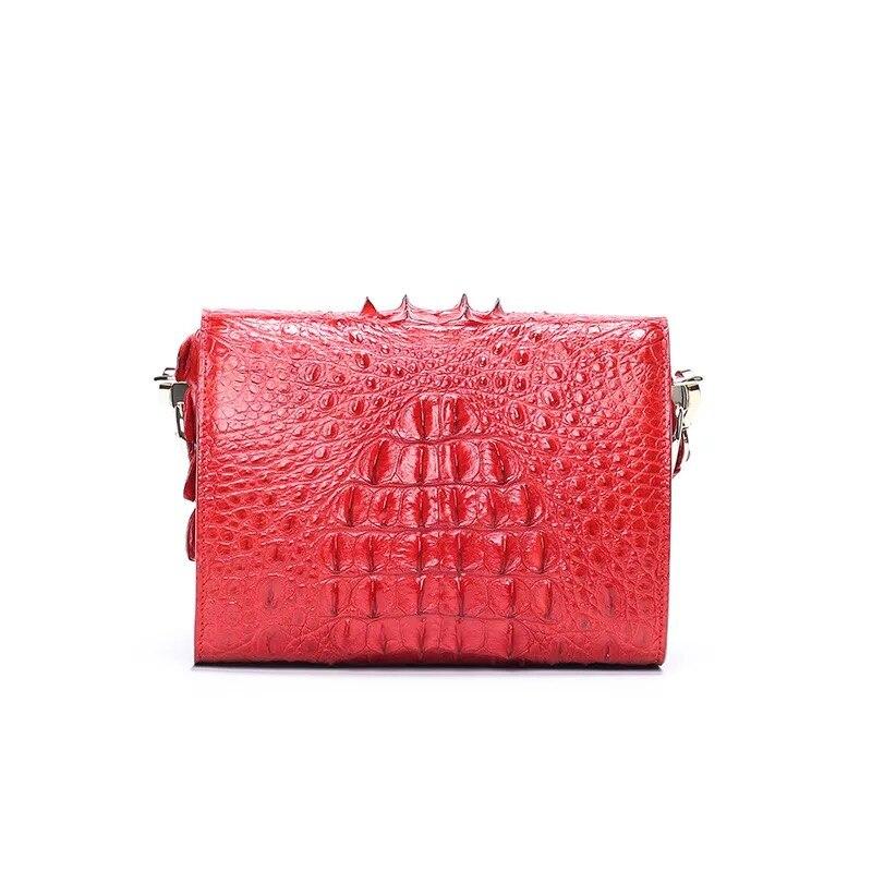 Fantaisie véritable peau de Crocodile femmes Mini sac à main dame large bandoulière boîte sac en cuir véritable Alligator femme bleu Messenger sac - 6