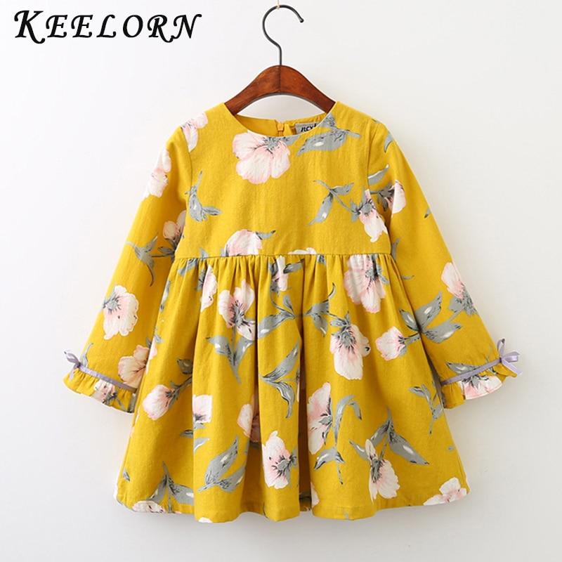 Keelorn Girls Dress Fashion Girls Princess Dress O-neck Puff Sleeve Design Children Clothing 2017 Autumn Winter 3-7Y Kids Dress