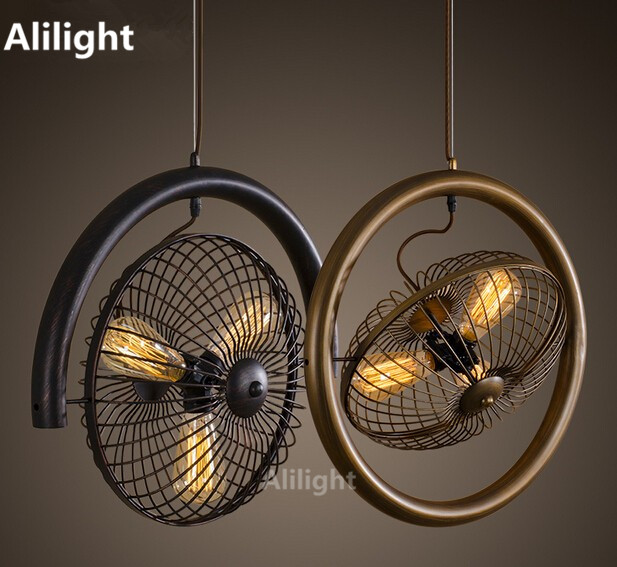 country lighting fixtures for home. retro american country creative pendant lamps rotatable fan loft lights iron art hanging lamp fixtures for home lighting