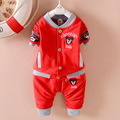 The new cotton monkey buckle child set infant clothing children's sweater children's suit  tide pants two-piece cute fashio