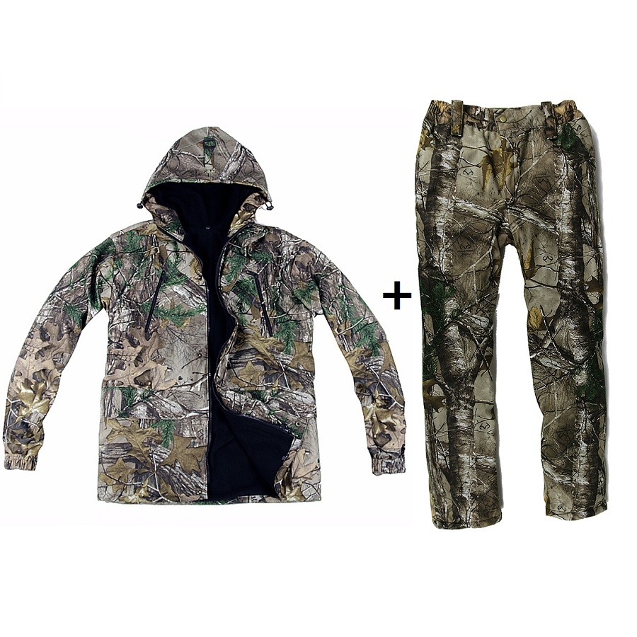 Winter Plus Velvet Thicken Bionic Camouflage Hunting Set Jacket Pants with Removable Pant Belt Camouflage Suits Ghillie Suit цена 2017