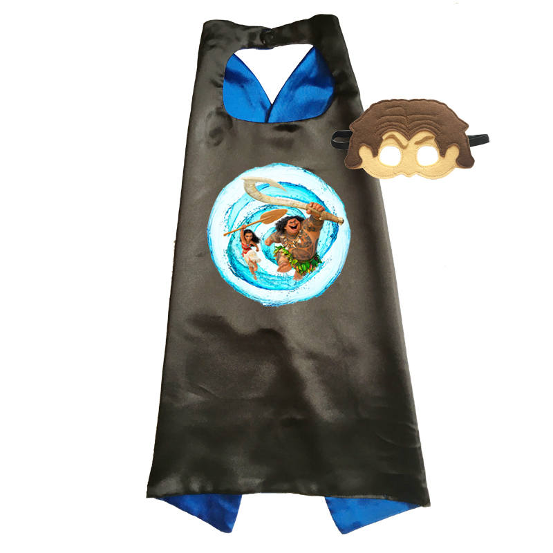 Moana Costume Superhero Cape Dress-Up Girls Cosplay Princess Outfits Funny with Mask