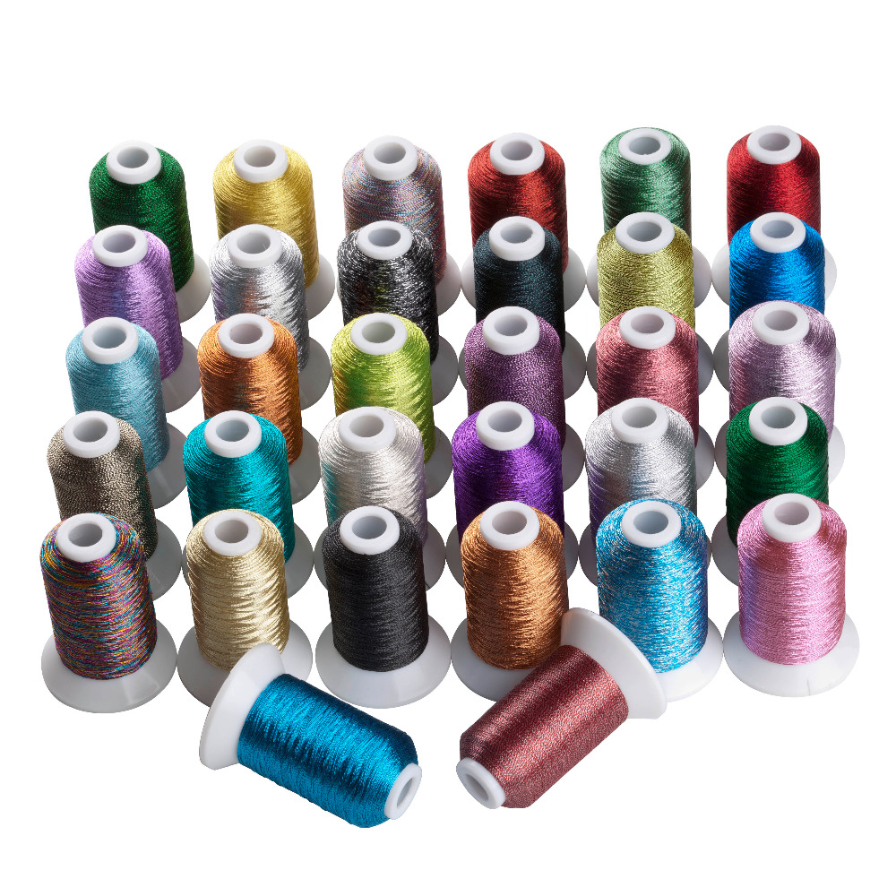 Simthread Metallic Embroidery Machine Thread Non-duplicated 32 Colors, 550 Yards Тегін жеткізу
