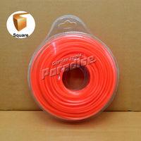 0 095 2 4mm Diamemeter 0 5LB Square Brush Cutter Nylon Grass Trimmer Line Orange Color