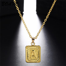 BOAKO Gold Medal Capital Pendant Necklaces A-Z Initial Letter Necklace for Women Men Jewelry Gift Stainless Steel Chain