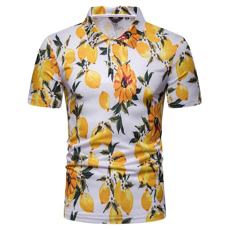 Summer Tops Polo Shirt Men Plant flower print Hawaiian beach style Short sleeves
