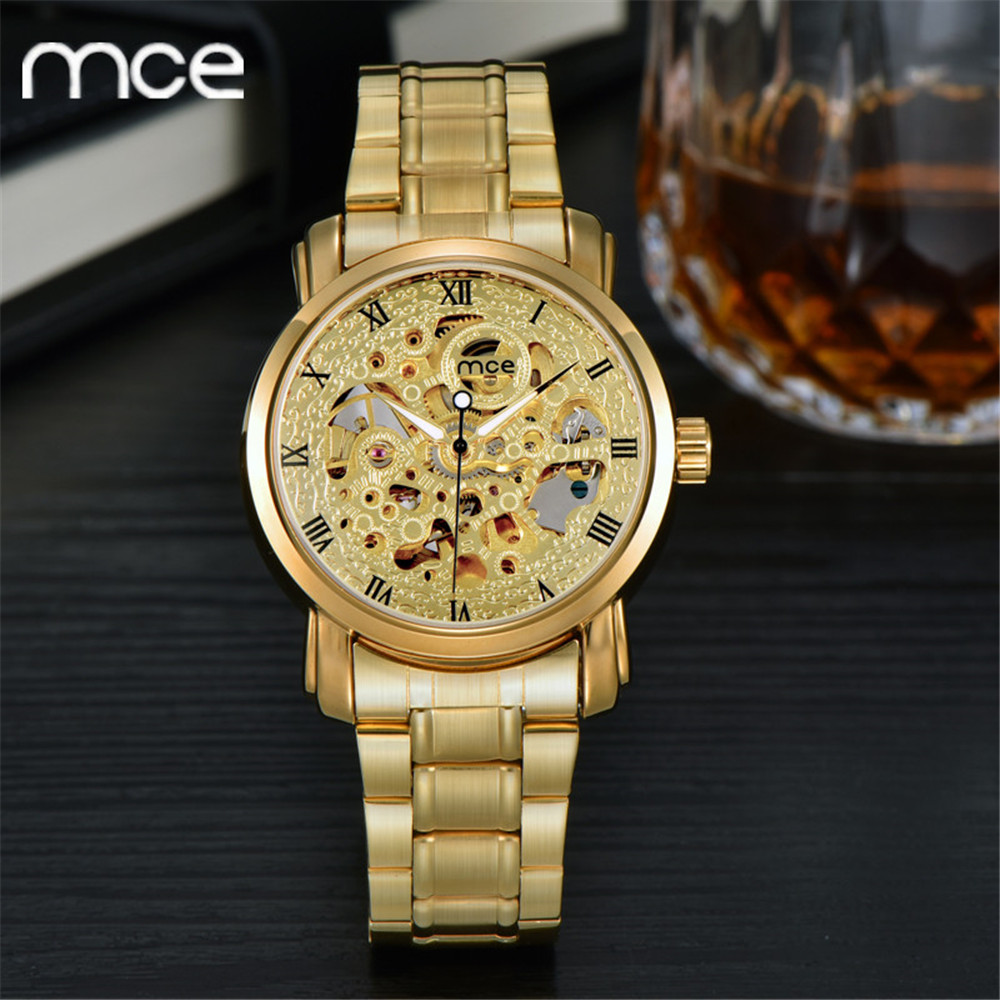 ФОТО MCE Woman watches 2016 Luxury gold Mechanical watch Full steel Montres homme Water Resistant Skeleton Mechanical Wristwatches