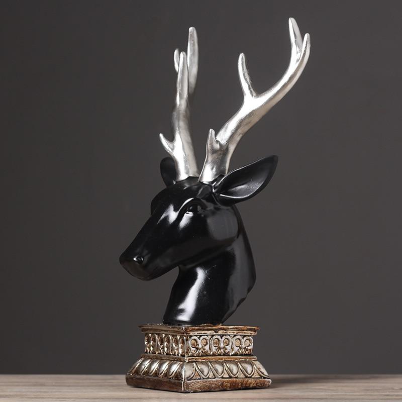 Décoration de style européen créatif Antique et médiéval, décorations de bureau de salon chanceux tête de cerf noir, leader